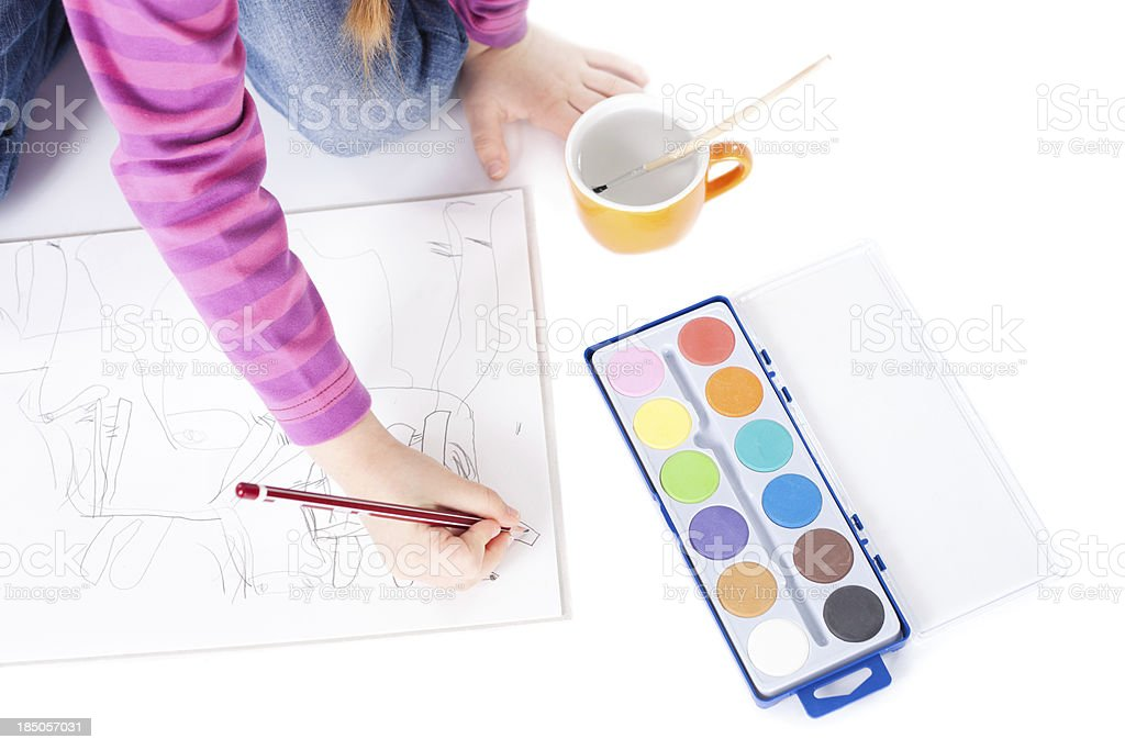 Little girl drawing royalty-free stock photo