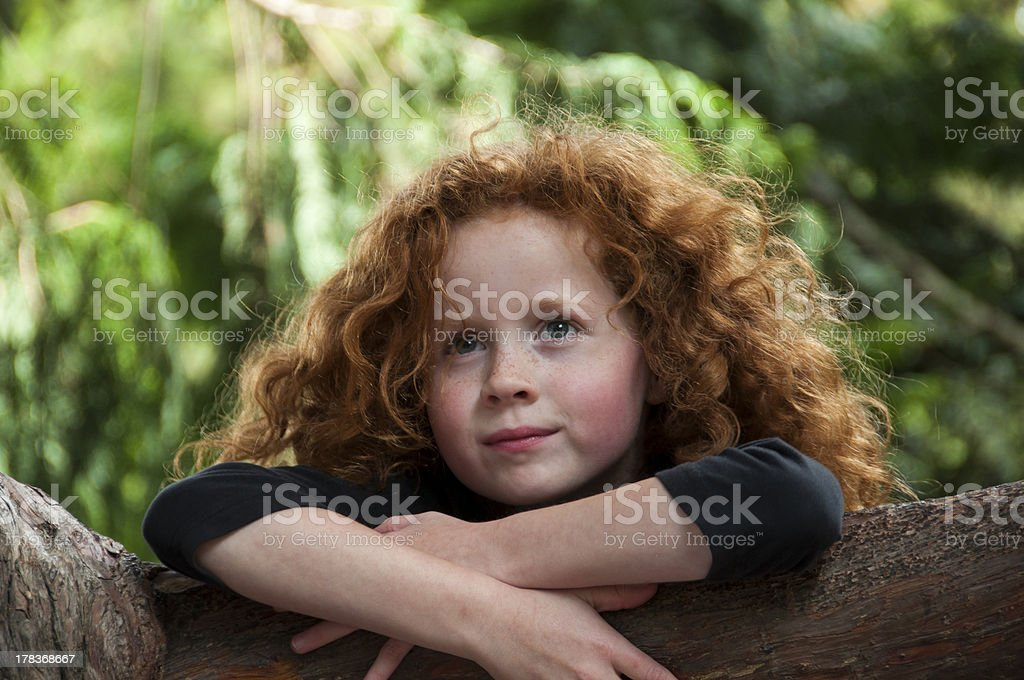 Little Girl Dreaming stock photo