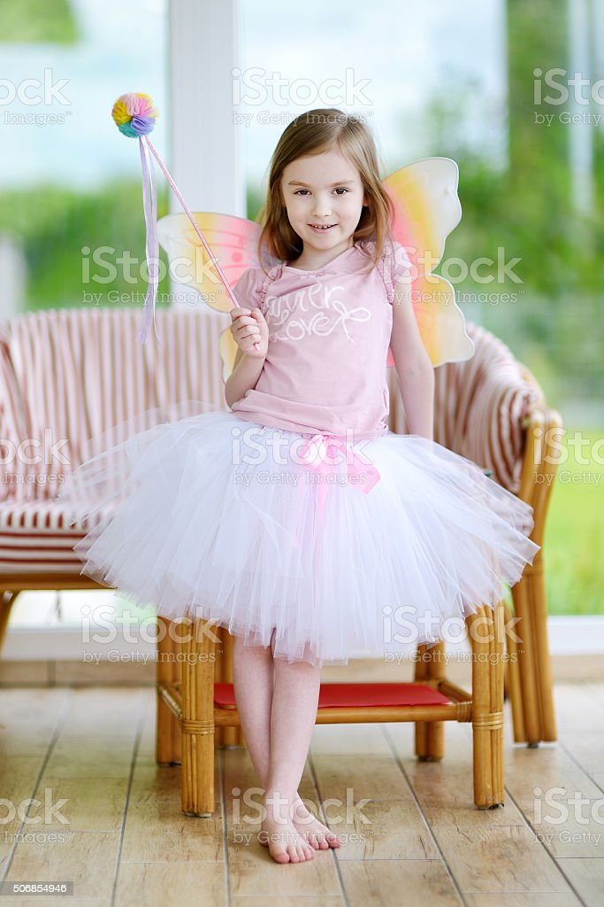 Little girl dressed as fairy stock photo