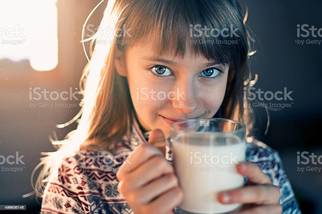 Little girl drinking milk royalty-free stock photo