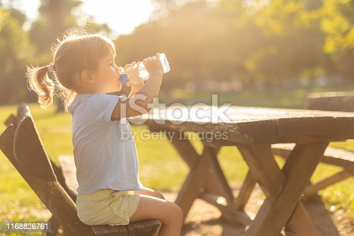 Girl drinking water from plastic bottle in the park on a hot sunny day.  Portrait of young girl drinking water