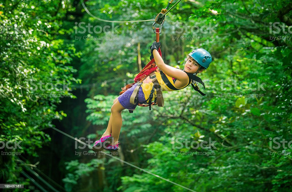 little girl during a Canopy Tour Costa Rica stock photo