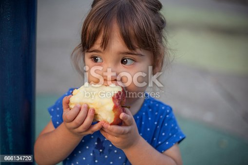istock Little girl eating apple at the playground 666134720