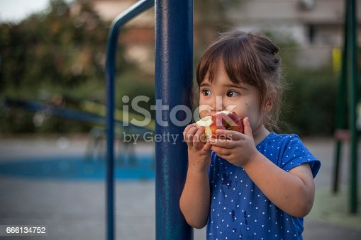 istock Little girl eating apple at the playground 666134752