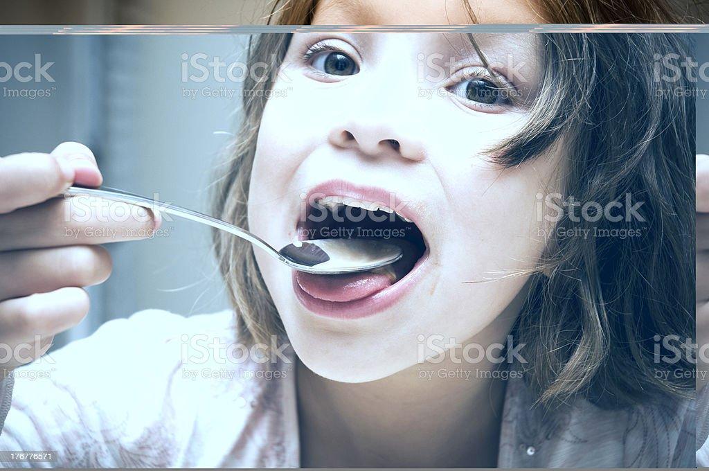 Little Girl Eating Ice Cream, Big Bite! royalty-free stock photo