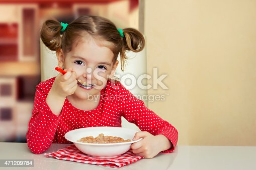 istock Little girl eating meal.Kid healthy food background. 471209784