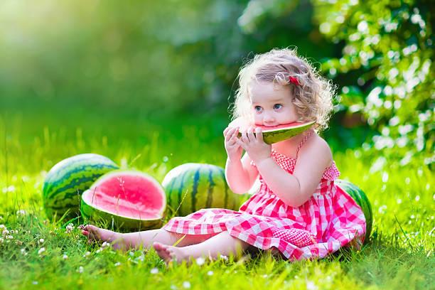 kleines mädchen isst wassermelone - mensch isst gras stock-fotos und bilder