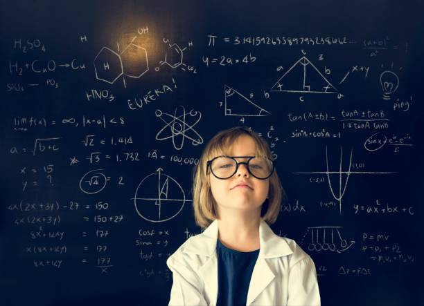little girl education blackboard concept - genius stock photos and pictures