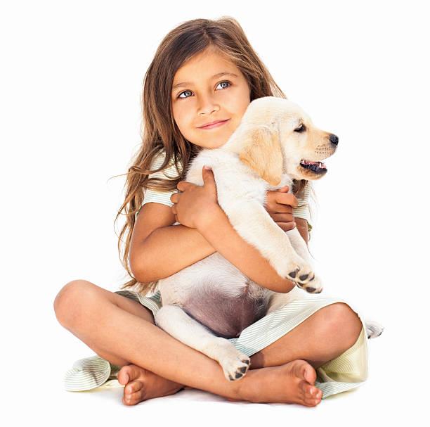 kleines mädchen umarmen ihr haustier - hundeplätze stock-fotos und bilder