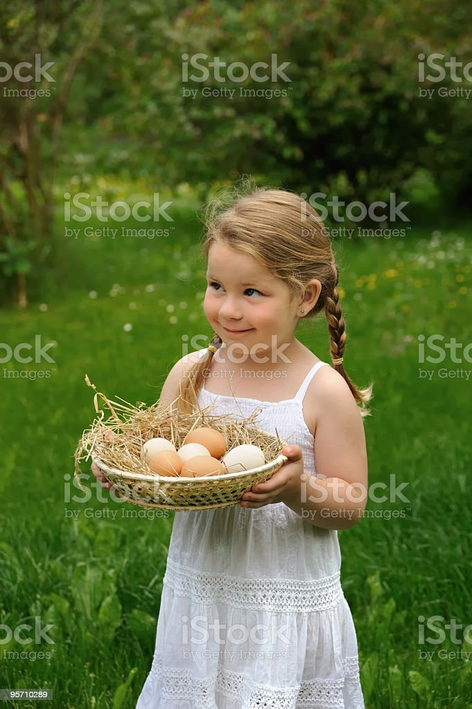 Little girl enjoying Easter time royalty-free stock photo