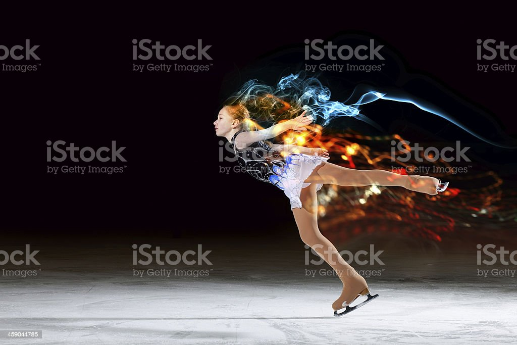 Little girl figure skating stock photo