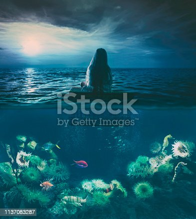 Little girl floating on the sea sitting on a basket, it's night, she looks at the moon while under the surface is rich sea life. Concepts: Quiet your mind. Childrens inspiration. Subconscious mind. The beauty is all around us, maybe we just have to change the point of view.