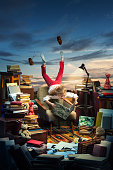 Little girl flying with open books. Childhood dreams, creature and education concept.