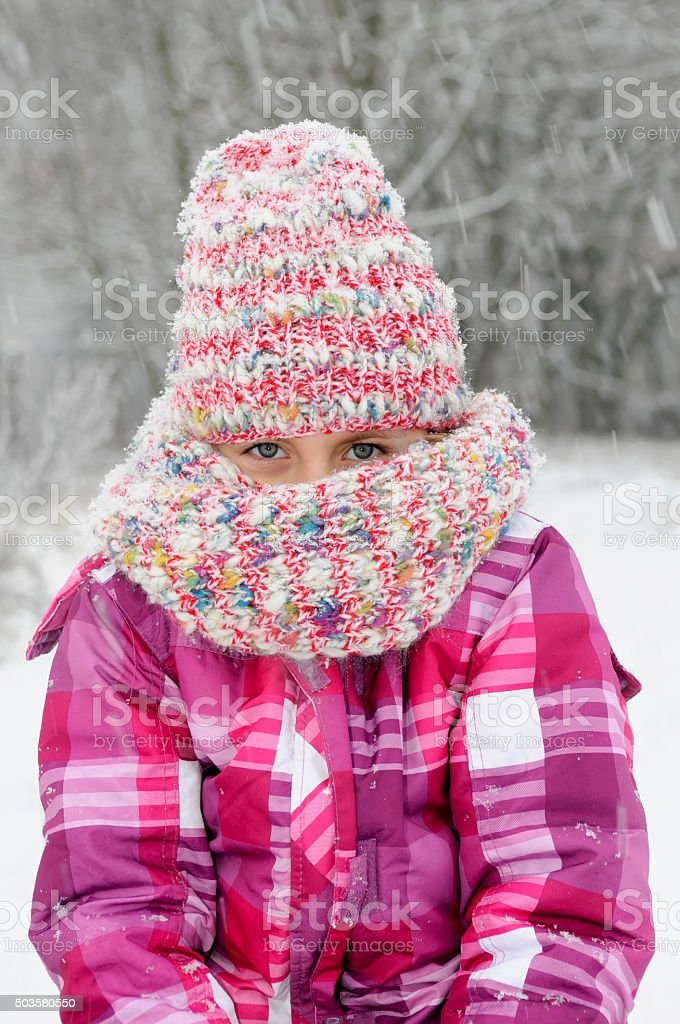 little girl freezing stock photo