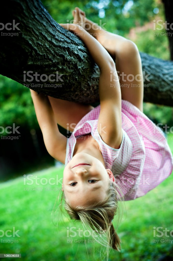 Little girl hanging on a tree branch royalty-free stock photo