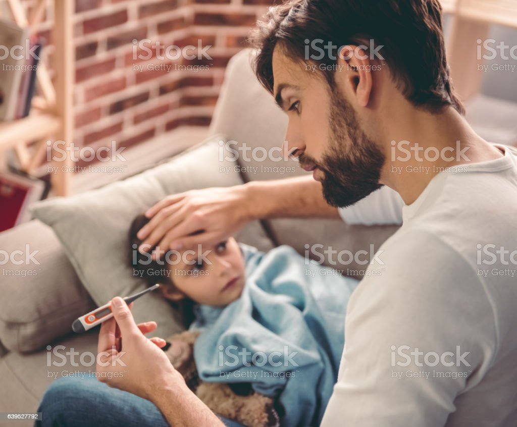 Little girl having a cold stock photo