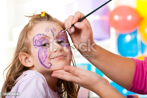 istock Little girl having face painted on birthday party 184403538