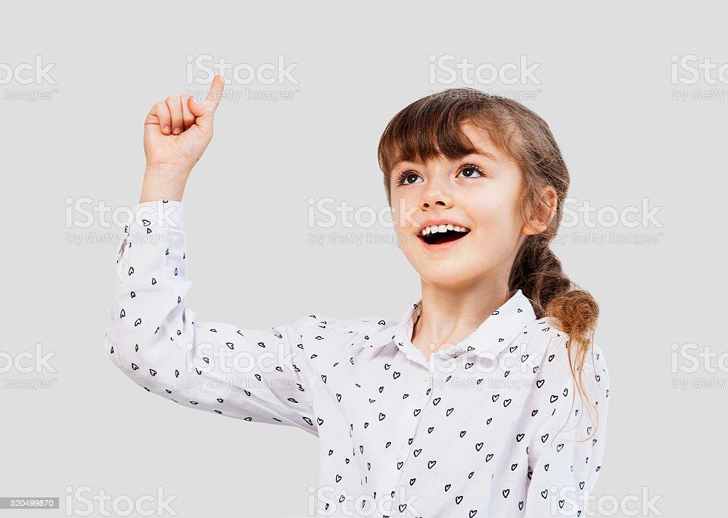 Little girl having idea stock photo