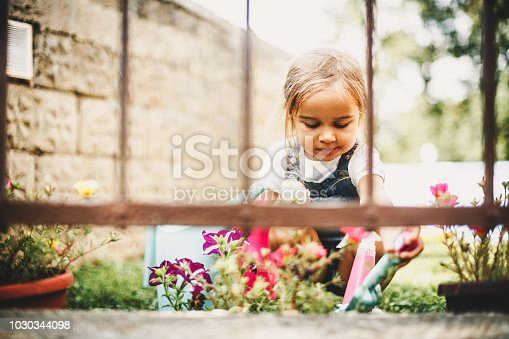 Little girl helping in the garden