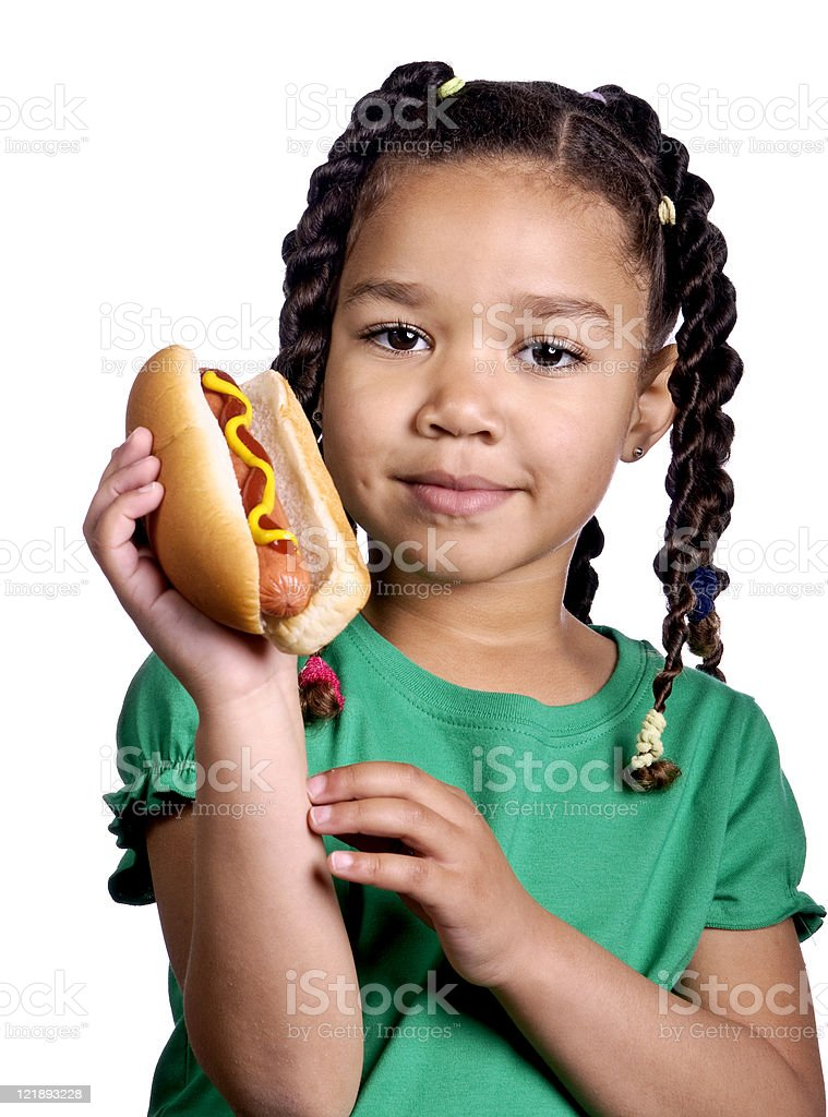 Little Girl Holding a Hot Dog royalty-free stock photo