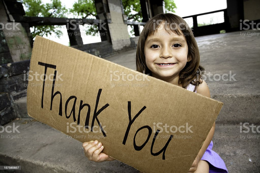 Little Girl Holding a Thank You Sign royalty-free stock photo