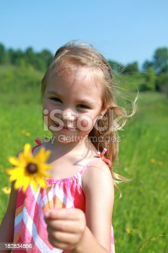 A little girl holds a black eyed susan in her hand. Copy space in sky. Please view many other images from this shoot in my portfolio.