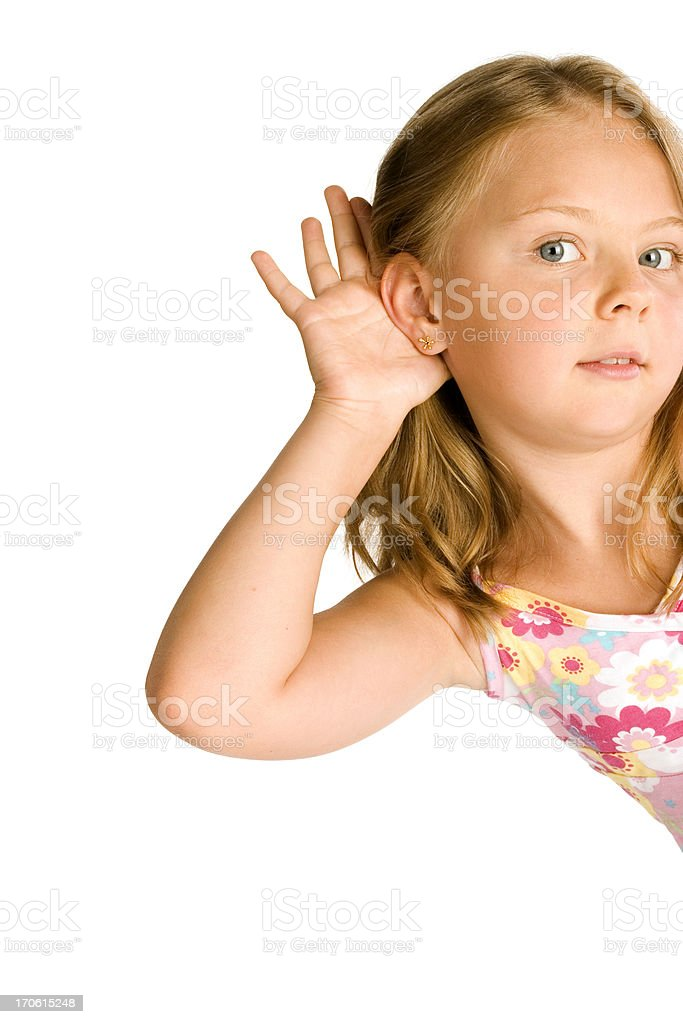 Little Girl Holding Hand on Ear royalty-free stock photo