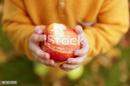 865889676 istock photo Little girl holding red apple in her hand 921917070