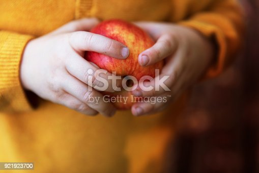 865889676 istock photo Little girl holding red apple in her hand 921923700