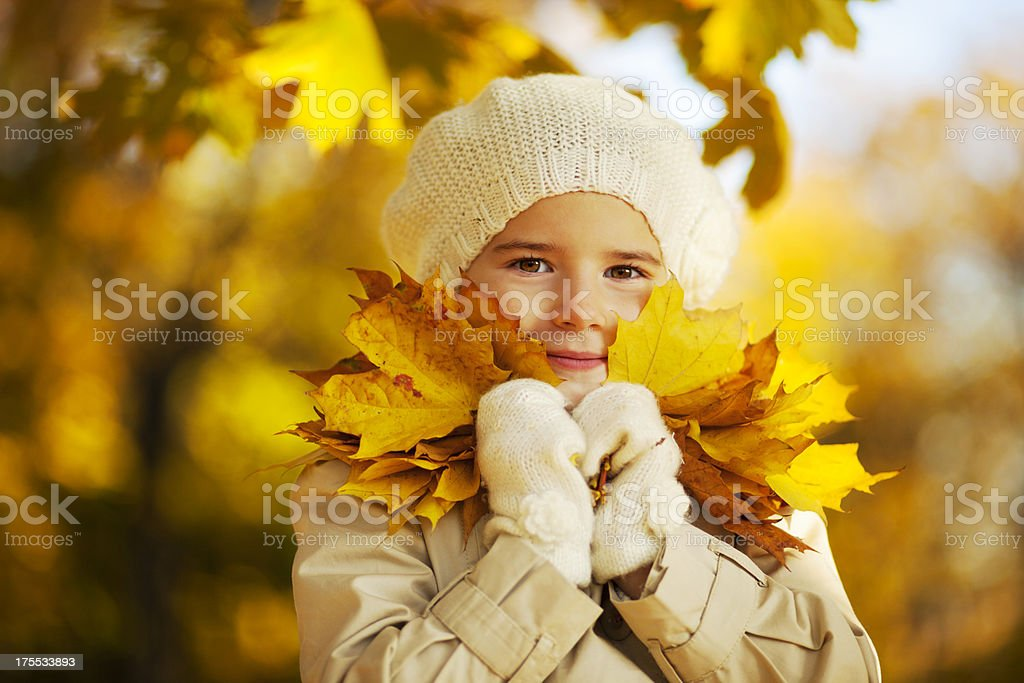 Little Girl Holding Yellow Maple Leaves Close To Face royalty-free stock photo