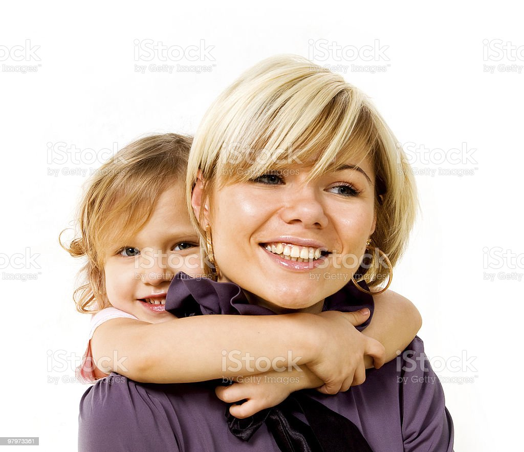 little girl hugging a mother royalty-free stock photo