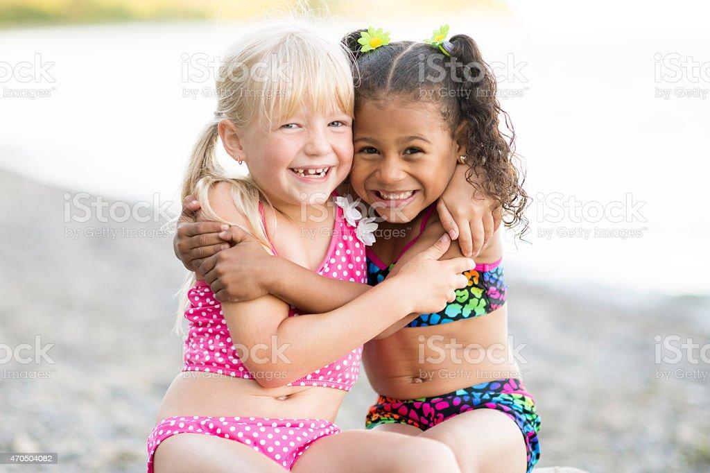 Little Girl Hugging stock photo