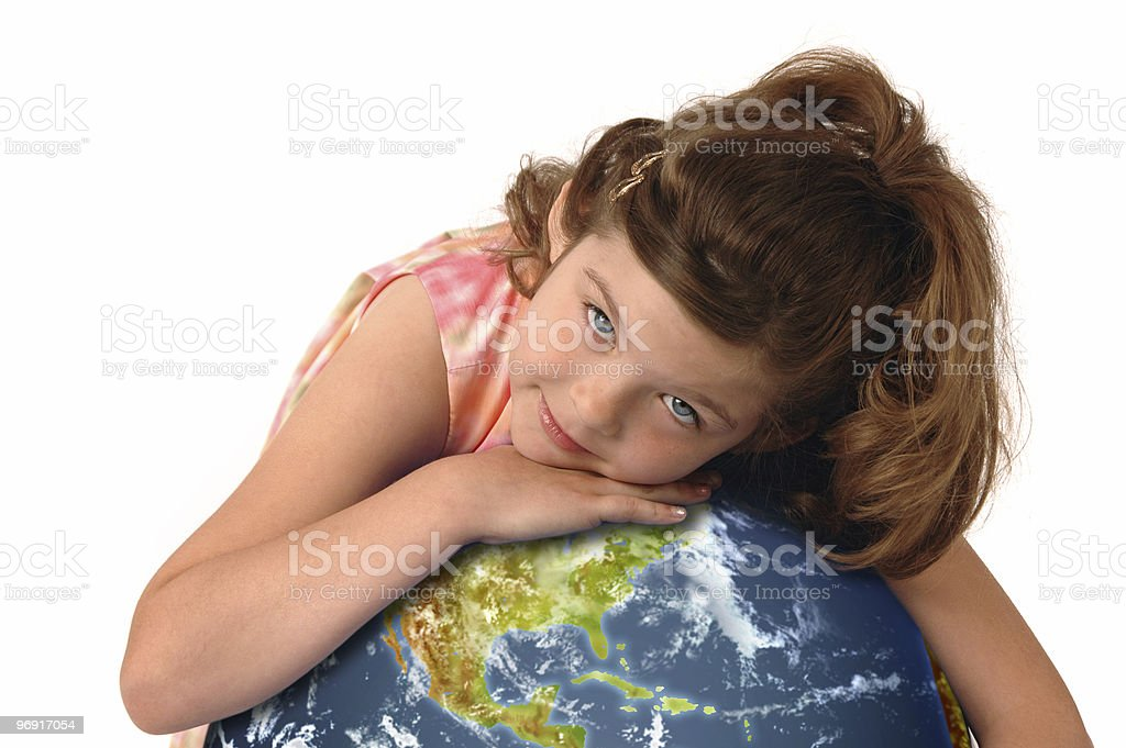 Little girl hugging planet earth royalty-free stock photo