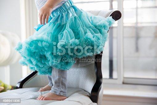 istock Little girl in a blue tutu 498941936