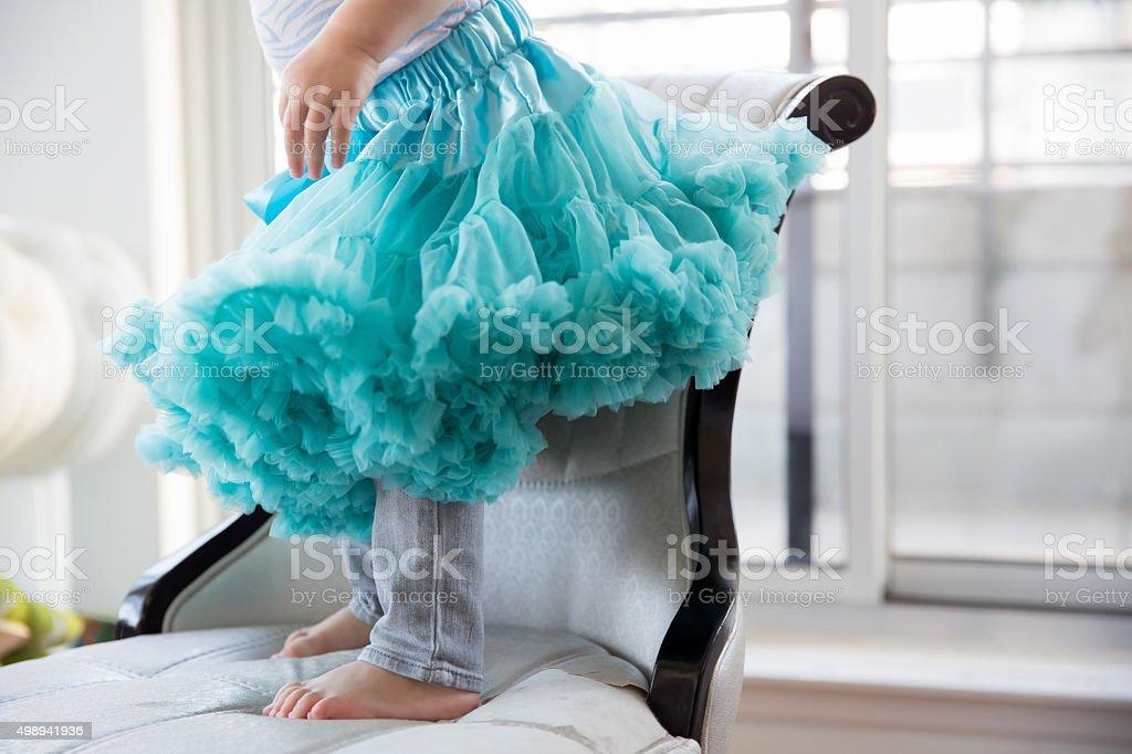 Little girl in a blue tutu stock photo