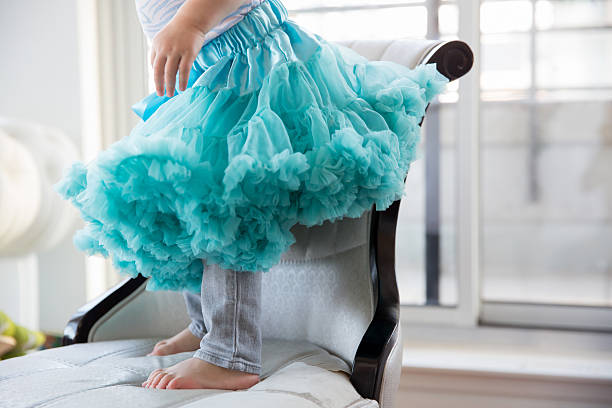 little girl in a blue tutu - petticoat stock pictures, royalty-free photos & images