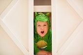 Little Girl In Dinosaur Costume