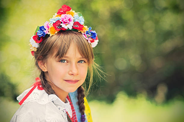 little girl in folk costume (krakowianka) - poland stock photos and pictures