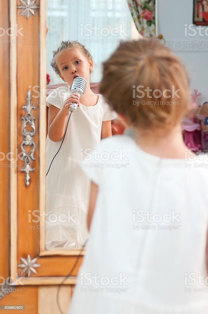Little Girl In Front Of Mirror Stock Photo More Pictures Of 6 7