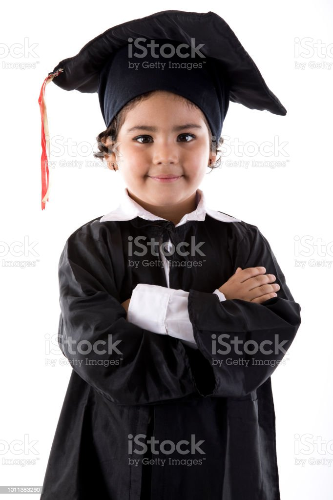 Little Girl In Graduation Gown Stock Photo & More Pictures of 4-5 ...