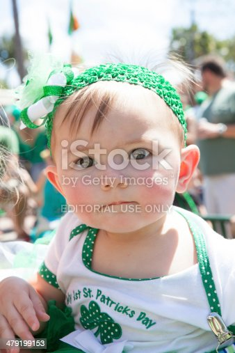 Little Girl In Green To Watch St Patricks Day Parade Stock