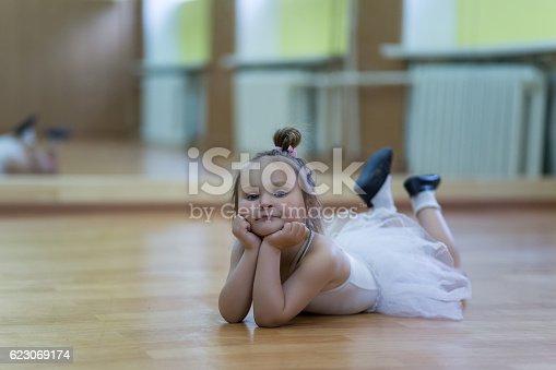 istock Little girl in gymnastic leotard 623069174