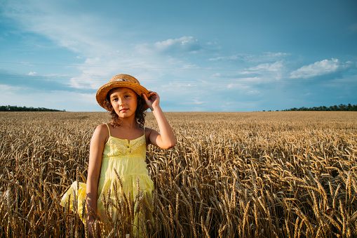 523172398 istock photo Little girl in hat on wheat field 480085058
