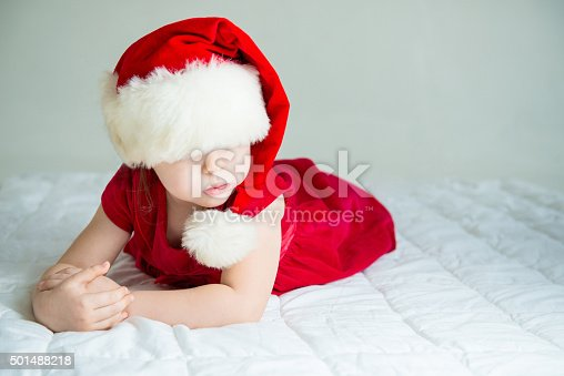 istock Little Girl in Hat Santa 501488218