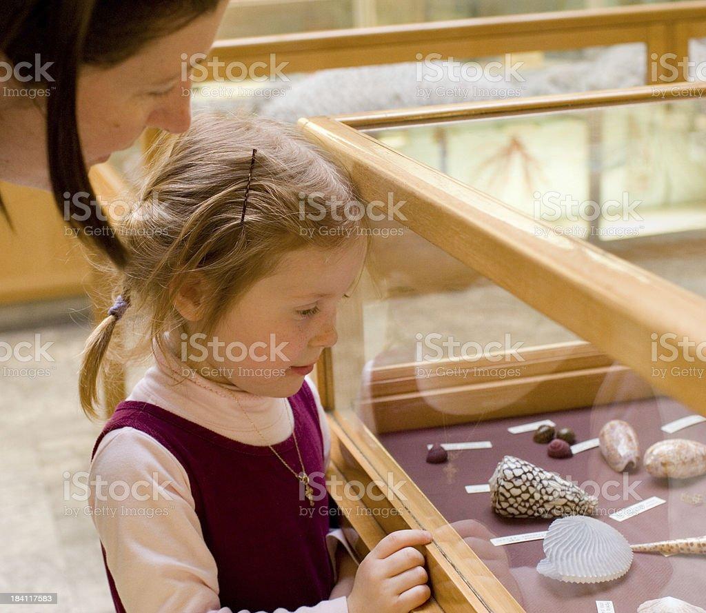 Little girl in museum stock photo