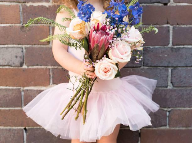 kleines mädchen im rosa tutu hält blumen - protea strauß stock-fotos und bilder
