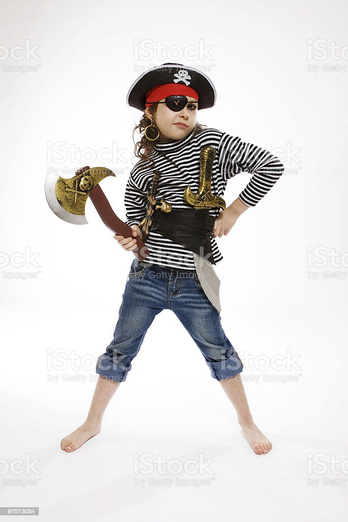 little girl in pirate's costume royalty-free stock photo