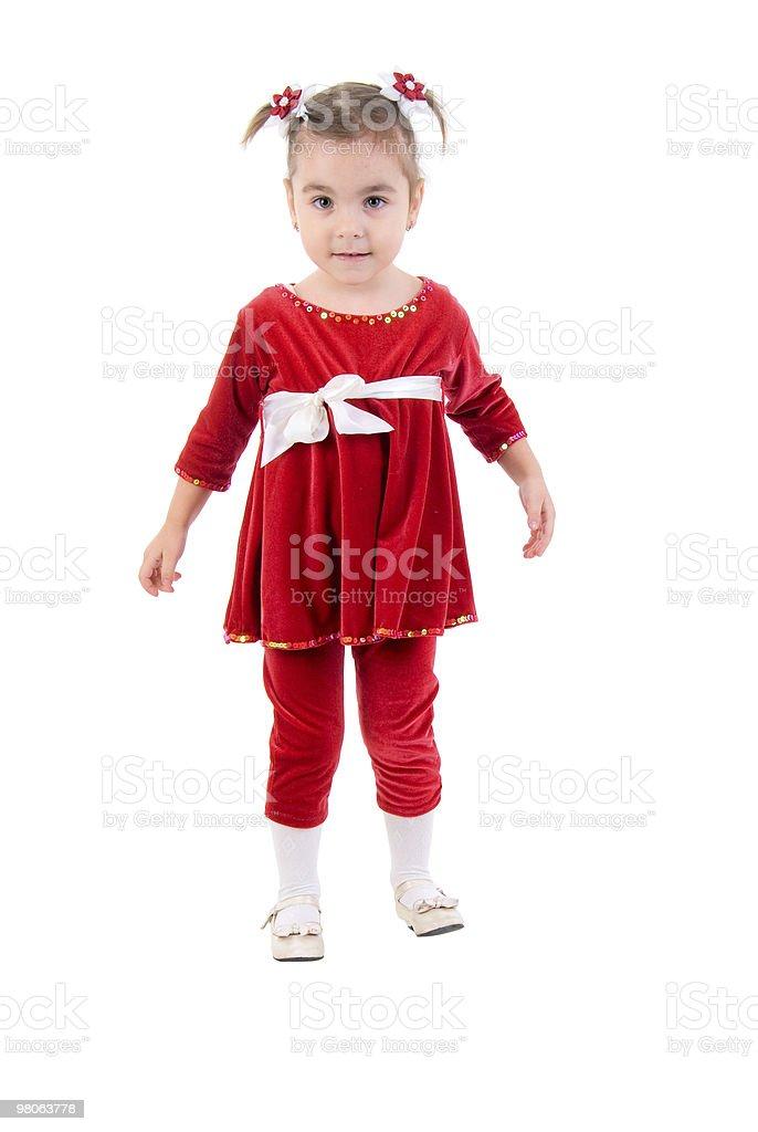 Bambina In abito rosso. foto stock royalty-free