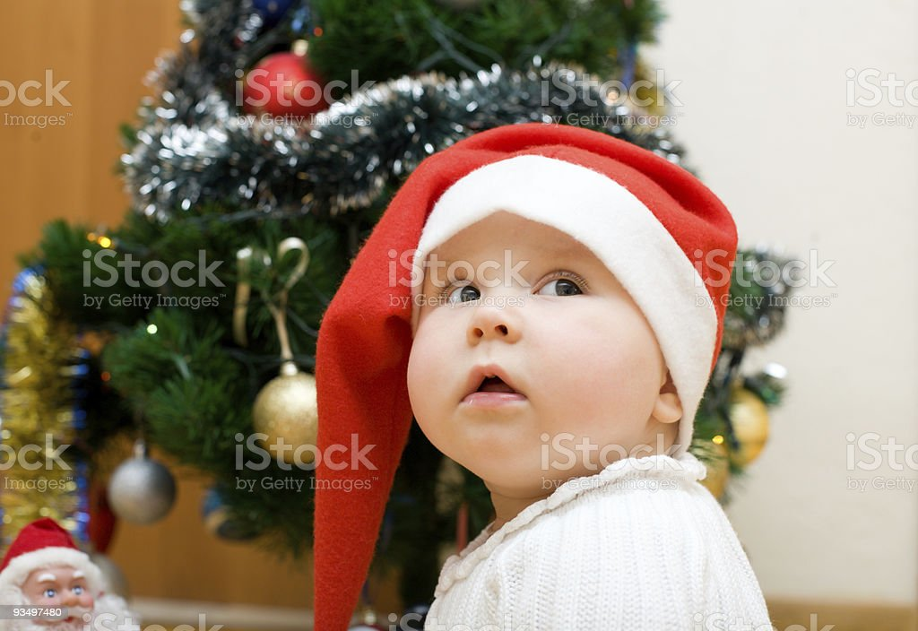 Little girl in red Santa hat royalty-free stock photo