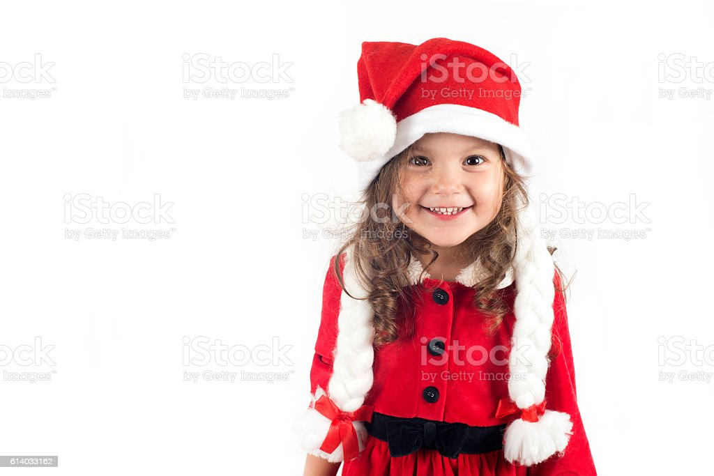 Little Girl In Santa Costume Stock Photo More Pictures Of